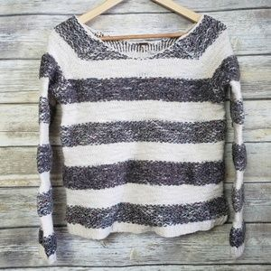 Free People Gray Cream Striped Boat Neck Sweater S